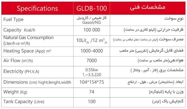 GLDB-100 مشخصات