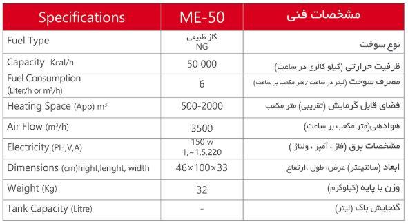 ME50 مشخصات
