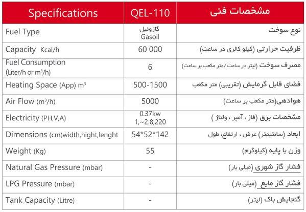 QEL-110 مشخصات فنی